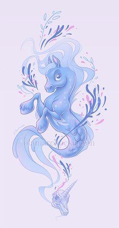 Hippocampus and Unicorn by aleksandracupcake on DeviantArt Fantasy Creatures, Mythical Creatures, Grim Reaper Art, Dragon Art, Best Artist, Art Drawings, Unicorn, Deviantart, Artwork