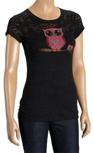 Sweet Girl Burnout Owl Sparkle T Shirt Black