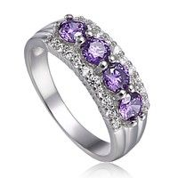 Wish | Best selling Women/Lady 18K White Gold Plated Big Purple Crystal Customize Rings Fashion anti-allergy ladies wedding Jewelry