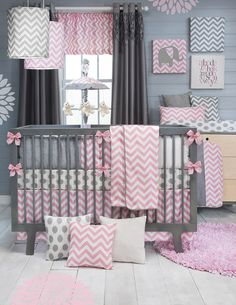 SO CUTE!Stylish pink chevron bedding now available for baby girls! Pink, grey and white are the perfect color combination for the ever popular chevron pattern. All prints are 100% cotton. White and gray velvets accent the hand-patched bumper and make soft decorative pillows. Bumper, quilt and rail guards are trimmed with silver piping. Super soft quilt backing eliminates the need for fill. Clean and contemporary bedding is easily accessorized with a wide selection of decorative wall art…