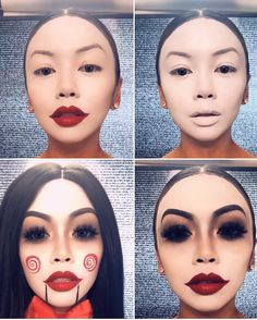 Are you looking for ideas for your Halloween make-up? Navigate here for creepy Halloween makeup looks. Maquillage Halloween Clown, Halloween Makeup Clown, Scary Halloween Costumes, Clown Makeup, Halloween Looks, Costume Makeup, Saw Costume, Halloween Eyes, Halloween Costumes Women Creative