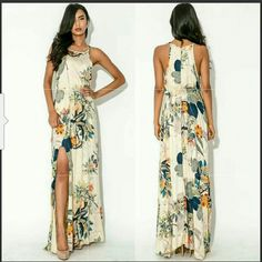 """*Beautiful New! Floral Multi Color Maxi Brand new Maxi dress that is a great wardrobe staple that can easily be dressed up or down.  **Size Large and fits size 8-10/M best **Length: 59"""" **Bust: 37"""" **Cotton Blend PRICE FIRM @40! NO OFFERS Dresses Maxi"""