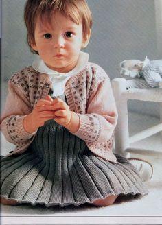 Instant PDF Digital Download Vintage Knitting Pattern Toddler Girl s Aran Cardigan and Pinafore Dress 20-24 Aran weight yarn