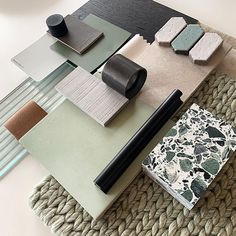 Flat lay Friday Loving these green tones by which compliment our black Flora Pull Mood Board Interior, Interior Design Boards, Interior Design Studio, Interior Design Inspiration, Color Inspiration, Interior Design Presentation, Material Board, Colour Board, Colour Schemes