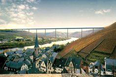 Mosel High Bridge Hochmoselbrücke Zeltingen-Rachtig, Rhineland-Palatinate, Germany 518 feet high / 158 meters high 689 foot span / 210 meter span