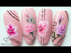Nail Art Hacks, Easy Nail Art, 3d Flower Nails, Diamond Nail Art, Nail Place, One Stroke Nails, Floral Nail Art, Painted Nail Art, Pink Acrylic Nails