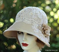 Womens Vintage 20s Style Fancy Formal Wide Brim Cloche Hat for Summer