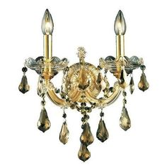 2801 Maria Theresa Collection Wall Sconce W12in H12in E8.5in Lt:2 Gold Finish (Swarovski Strass/Elements Golden Teak)