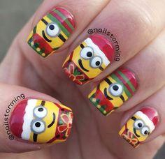 Minion Xmas nails