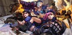 jinx vi caitlyn officer of piltover league of legends hd wallpaper lol girl champion Vi Lol, League Of Legends Video, Art Et Illustration, Illustrations, Paladin, Female Characters, Hd Wallpaper, Computer Wallpaper, Wallpapers