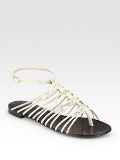 Giuseppe Zanotti  Snake-Print Leather Gladiator Sandals  $595