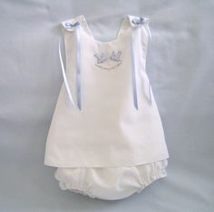 Heirloom Inspired, Baby Bluebirds Sundress and Ruffle Panty size 6 to 12 months. $75.00, via Etsy.