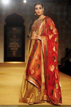 Miss India Kanishtha Dhankar flaunts a creation by designers Ashima and Leena on Day 4 of the India Bridal Fashion Week (IBFW) 2013 at The Grand, Vasant Kunj in New Delhi