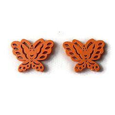 Embellissement papillon orange en bois 22x28 mm, scrapbooking x2