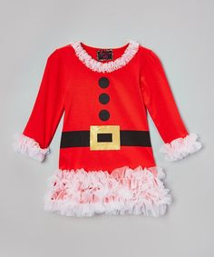 Take a look at this Red Santa Belted Dress - Infant, Toddler & Girls today!