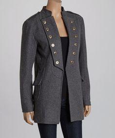 Another great find on #zulily! Barrel Sportswear Gray Long Wool-Blend Military Jacket by Barrel Sportswear #zulilyfinds