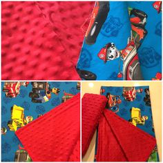 paw patrol blanket and car pillow with Minky Fabric.