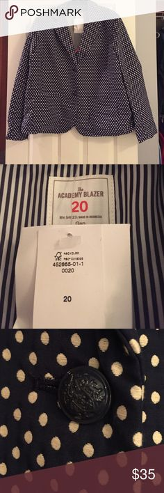 ⭐️PRICE DROP⭐️ NWT GAP Academy Blazer This classic navy and white dotted Academy blazer by Gap is a classic piece for year around use. Item is NWT in original Gap packaging from Gap.com. Wear this with everything from jeans, to shorts, to skirts and dresses to add a polished look to any outfit. GAP Jackets & Coats Blazers