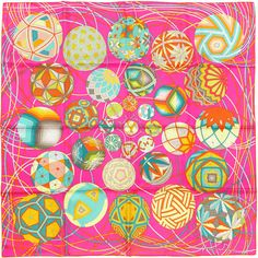 Pre-Owned Hermes Paris L'Art du Temari 90cm Silk Scarf Carre by... ($425) ❤ liked on Polyvore featuring accessories, scarves, pink, pink scarves, hermes scarves, multi colored scarves, pink silk scarves and silk scarves