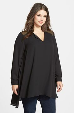 Sejour Split Neck High/Low Tunic (Plus Size) available at #Nordstrom