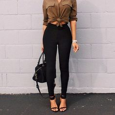 Snatch these versatile black classic high-waist leggings and tan tie-front crop shirt from @lookbookstore