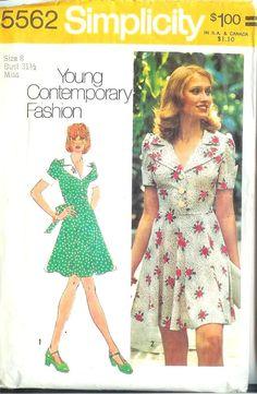 1970s Flirty Little Dress Pattern Simplicity 5562 Size 8. $6,95, via Etsy.