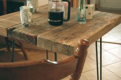 HAIRPIN LEG VINTAGE INDUSTRIAL STYLE RUSTIC WOODEN PLANK KITCHEN DINING TABLE   eBay