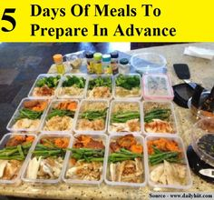 5 Days Of Meals To Prepare In Advance...For more creative tips and ideas FOLLOW https://www.facebook.com/homeandlifetips