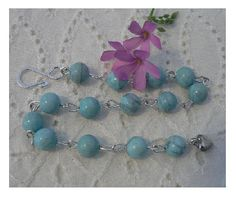 Blue Turquoise Linked Bead  Bracelet  Adjustable with Vintage beads Shabby Chic Style