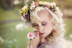 """Ring """"Tanec rannej rosy"""" (Dance of Morning Dew) by Magaela Flowers In Hair, Wedding Flowers, Wedding Dresses, Hair Wedding, Flower Hair Accessories, Wedding Hair Accessories, Crown Hairstyles, Wedding Hairstyles, Flower Head Wreaths"""
