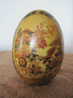 Satsuma Egg hand painted with flowers and birds with gold paint