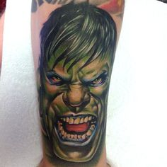 Today's tattoo love the comic pieces love the hulk love bein told to do my style ,today was a good day #hulk #marvel #comic #disney #art #artist #comics #comicbook #cecilporter #color #realistic #tattoos #realism #tattoo #avengers