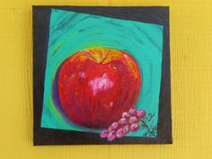 'an apple a day' original painting on canvas by Texas artist Diane Kraft