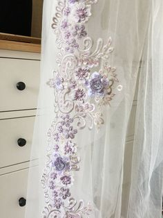 Items similar to Luxury Hand Beaded Flower Lace Trim in Lavender for doll dress, bridal gown , veil, costumes design on Etsy 3d Hand, Wedding Belts, Dress Sash, Applique Embroidery Designs, Fabric Swatches, Costume Design, Crystal Beads, Lace Trim, Bridal Gowns