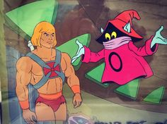 An original #animationart cel of #heman with original background also featuring #orko #filmation #80scartoons #classiccartoons #mattel #animation by ldfuntastic