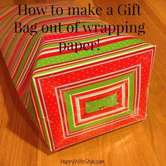 """I can't believe I never knew how to do this until now! I've always fancied  myself a pretty good """"wrapper"""" of gifts...but making a gift bag out of  wrapping paper takes it to a whole new level! This is so perfect for those  odd shaped gifts that are hard to wrap! If you don't have a gift bag, now  you can easilymake your own!!"""