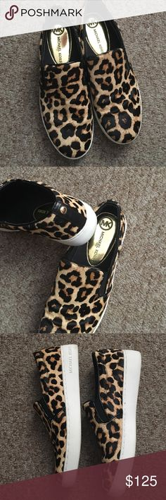 Reserved for @jonesjasmine88 Michael Kors Leopard Authentic Michael Kors leopard print slip on shoes. Worn once. Excellent condition. Michael Kors Shoes Flats & Loafers