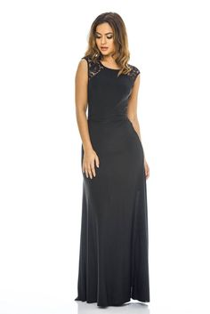 AX Paris Womens Black Lace Insert Maxi Dress Glamorous Stylish Fashion