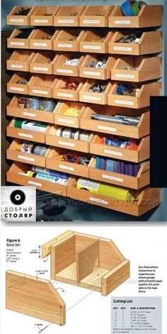 DIY Hardware Organizer - Workshop Solutions Projects, Tips and Tricks - Woodwork, Woodworking, Woodworking Plans, Woodworking Projects Workshop Storage, Workshop Organization, Tool Storage, Garage Storage, Organization Ideas, Car Storage, Diy Workshop, Storage Bins, Workshop Shelving