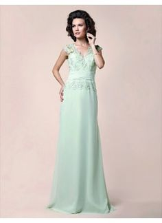 Elegant A-line V-neck Floor-Length Chiffon and Lace Sequins Mother of the Bride Dress
