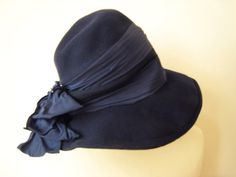46b0013e3219c0 1930's blue felt hat with bow Felt Hat, Wool Felt, Blue Wool, Vintage