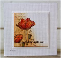 The challenge on Less is More´s blog  is to use more than one stamp!     I used a background stamp with text and the poppies from Blooming ...