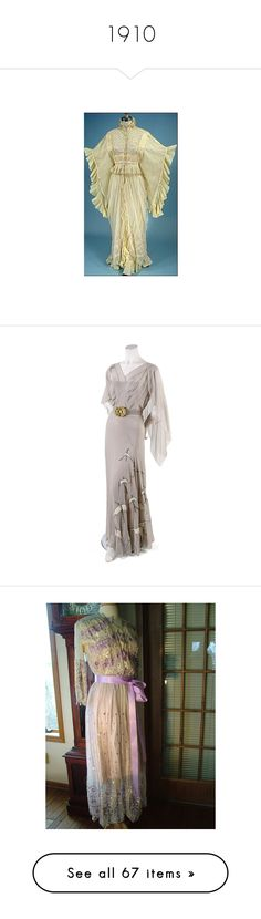 """""""1910"""" by sbhackney ❤ liked on Polyvore featuring intimates, robes, titanic, dressing gown, bath robes, dresses, vintage dresses, gowns, vintage cocktail dresses and brown evening gowns"""