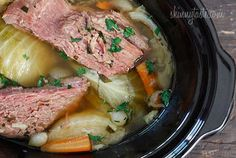 Corned beef in a crock pot.