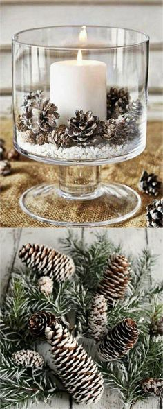 27 gorgeous & easy DIY Thanksgiving and Christmas table decorations & centerpieces! Most can be made in less than 20 minutes, from things you already have! - A Piece of Rainbow DIY decorations 27 Gorgeous DIY Thanksgiving & Christmas Table Decoration Simple Christmas, Winter Christmas, Christmas Home, Christmas Ornaments, Christmas Quotes, Christmas Carol, Modern Christmas, Scandinavian Christmas, Christmas Fonts