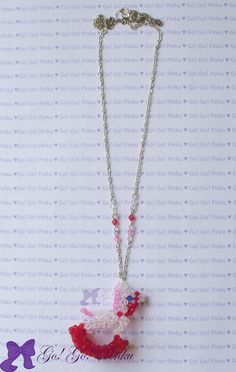 CUTE Rocking Horse beaded Necklace. $12.00, via Etsy. #Accessories #Pin #rocking horse #beaded #red #white #pink #kawaii #necklace #cute necklace #handmade necklace #kawaii #handmade #Japan #harajuku  #girl #oshare #decora