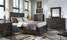 Abington Transitional Weathered Charcoal Wood Master Bedroom Set