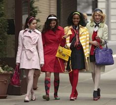 Jenny (Season 1, Episode 14)  As Jenny hits her stride at Constant Billard, she puts her own spin on Blair's preppy uniform (a Valentino coat, white Ellen Tracy tights, Juicy Couture ankle socks, Moschino shoes... and a headband). 'Gossip Girl' Series Finale: A Look Back At The Fashion From All 6 Seasons (PHOTOS)