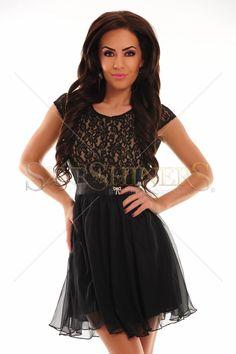 Rochie PrettyGirl Fairness Black 185 Lei.  Spate decupat. | StarShinerS Skater Skirt, Skirts, Black, Dresses, Fashion, Rhinestones, Vestidos, Moda, Skirt