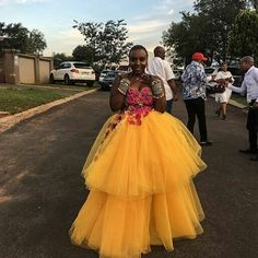 Image may contain: 1 person, standing and outdoor South African Wedding Dress, African Wedding Attire, African Attire, African Dress, African Outfits, African Weddings, African Clothes, Zulu Traditional Attire, South African Traditional Dresses